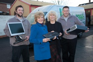 Barbara Janke hands over recycled compter