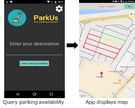 Parking app interface
